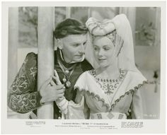 Photograph from Laurence Olivier's movie of Henry V: Henry wooing Katherine. 1945. Folger Shakespeare Library.