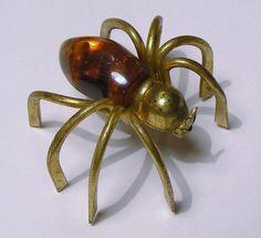 Vintage Spider Brooch Huge Halloween Pin by VintageJewelsAndMore, $35.00