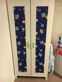 IKEA Aneboda hack using space themed wallpaper and new pulls Ikea Wardrobe Hack, Closet Hacks, Closet Organization, Ikea Dombas, Ikea Aneboda, Ikea Algot, Latest Wardrobe Designs, Closet Designs, Space Themed Wallpaper