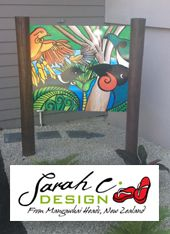 Outdoor Art Sarah C Gloss Panel: Birds of Tane. Tane is the Maori God of the Forest. This piece looks great in the garden placed between to posts. http://www.sarahcdesign.co.nz/gloss-panels.html. From $380