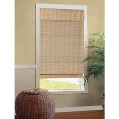 Bamboo shades for small windows -  B. Smith Cali Natural Roman Cordless Bamboo Shade - BedBathandBeyond.com