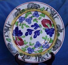 Antique-Frog-Big-Bunny-Rabbit-Sponge-Stick-Spatter-Ware-Staffordshire-Plate