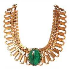 Ela Stone Malachite Gold Necklace | From a unique collection of vintage multi-strand necklaces at https://www.1stdibs.com/jewelry/necklaces/multi-strand-necklaces/
