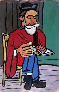 Bearded Man in Yellow Chair ca. 1939-1940 William H. Johnson Born: Florence, South Carolina 1901 Died: Central Islip, New York 1970 tempera on paperboard 30 3/8 x 20 1/4 in. (77.1 x 51.5 cm) irregular Smithsonian American Art Museum Gift of the Harmon Foundation 1967.59.276
