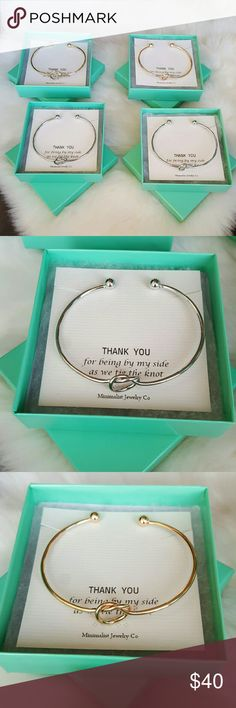 "4 Bridesmaids Infinity Knot Bracelets Gift Wedding Lulus- Let's Tie The Knot Bracelets packaged for bridesmaid gifts.   ""Thank you for being by my side as we tie the knot""  2 gold tone, 2 silver tone.   4 for $40 boxed and ready to go. Lulu's Jewelry Bracelets"