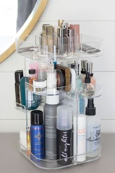 Soo amazing for holding all of my beauty products and it rotates to make everything super easy to find and grab! Definitely one of the best bathroom storage solution for makeup and other beauty accessories! #organizing #homeorganization