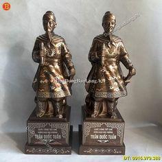 Tượng Trần Quốc Tuấn Khảm Tam Khí Cao 42cm - Đúc Đồng Bảo Long