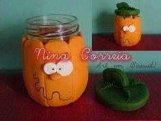 poly clay pumpkin - baby jar