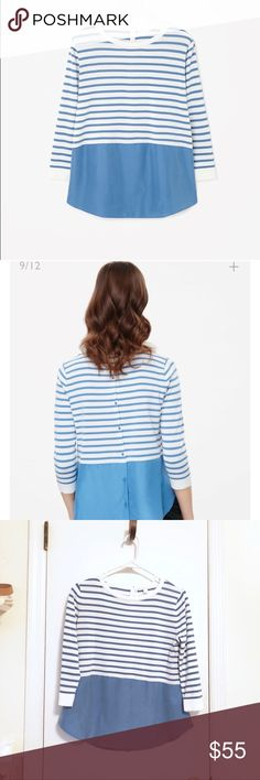 Cos minimal silk pannel stripe jumper Back button. like new condition. Fits xs, s, 0, 2. Check this link for more detail. https://www.cosstores.com/us/Silk_panel_stripe_jumper/228955-18894392.1#c-15133319 COS Tops
