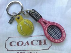 NEW AUTHENTIC COACH TENNIS RACKET BALL LEATHER KEY CHAIN RING FOB CHARM picclick.com