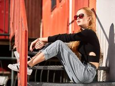 Street style fashion shoot in Munich. Available light shoot. Stylish girl with s. : Street style fashion shoot in Munich. Available light shoot. Stylish girl with sunglasses sitting on stairs in old industry area. Artistic Fashion Photography, Photography Women, Editorial Photography, Photography Lighting, Photo Lighting, Photography Ideas, Fashion Poses, Fashion Shoot, Editorial Fashion