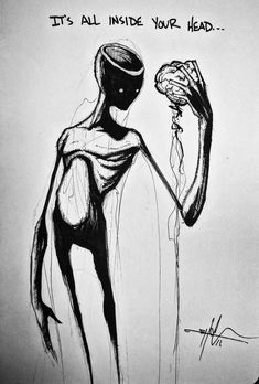 Shawn coss / it's all in your head dark drawings, sweet drawings, creepy drawings Creepy Drawings, Dark Art Drawings, Art Drawings Sketches, Sweet Drawings, Arte Horror, Horror Art, Dark Art Illustrations, Illustration Art, Arte Obscura