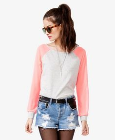 Heathered Chiffon Sleeve Top | FOREVER 21 - 2021360157