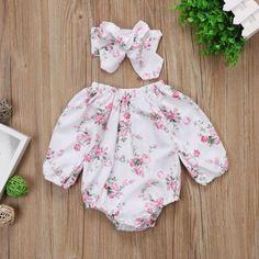 QPA Neugeborene Kinder Baby M/ädchen Strampler Off Shoulder Striped Jumpsuit Bodysuit mit Schleife Stirnband 2Pcs Outfits Set