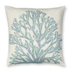 """Coral Applique Pillow Cover with Beads, 20"""" X 20"""", Blue   Williams-Sonoma"""