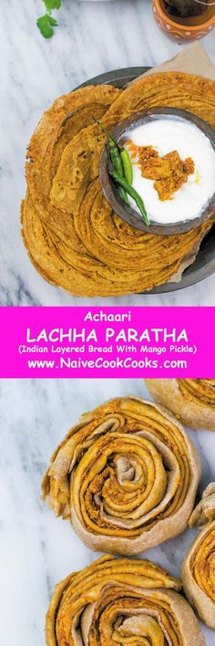 This LAYERED Indian style bread is great hen eaten along with tea/coffee or served with curries! #recipes #indian #paratha #lachha #achaar #mango #pickle #easy #authentic