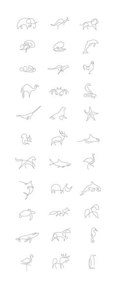 Tiny Tattoo Idea - Minimalist One Line Animals By A French Artist Duo - Art - Tattoo Designs For Women Wolf Tattoos, Body Art Tattoos, How To Draw Tattoos, How To Tattoo, Tattoo Drawings, Line Drawing Tattoos, Neck Tattoos, Tattoo Sketches, Art Drawings