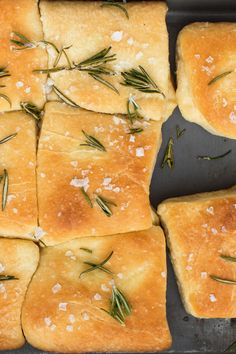Garnished with rosemary and flaky sea salt, these sweet and buttery dinner rolls are perfect for sopping up all that sauce and gravy goodness.