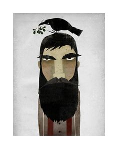 For some reason this reminds me a bit of Drogo from Game of Thrones. (My favorite show!) Cool artwork on etsy, nativevermont.