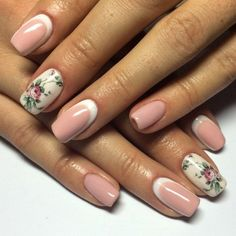 Exquisite nails, flower nail art, Gentle half moon nails, Manicure by summer dress, Nails with flower print, Print nails, Romantic nails, Shellac nails 2016