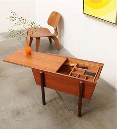 1950s-Danish-Modern-TEAK-Storage-Table-Mid-Century-Eames-Era
