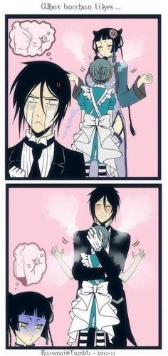 Omg lol  #ciel #phantomhive #sebastian #kuroshitsuji #hug #lol #anime