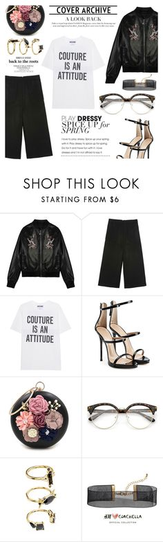 """""""Flower garden"""" by shopindigodesign ❤ liked on Polyvore featuring Moschino, Giuseppe Zanotti, WithChic, Noir Jewelry and H&M"""
