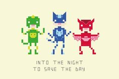 Into the night to save the day! Inspired by the Disney Junior TV show PJ Masks, cross stitch your very own mini pixel superheroes. Amara, Connor and Greg aka Owlette, Catboy and Gekko all feature in this super cute pattern. The pattern is designed for 14 count cream aida - but would Pj Mask, Crafts Beautiful, Dmc Floss, Perler Patterns, Disney Junior, Cute Pattern, Picture Design, Cross Stitch Patterns, Masks