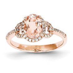 Unique Morganite Diamond Oval Halo Antique Vintage Engagement Ring 14K Rose Gold on Etsy, £489.46