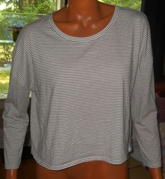 Forever 21 White Stripe Tee T Shirt Medium Black Low Back Soft Knit 3/4 Sleeve #FOREVER21 #BasicTee