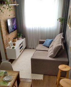 Decoração de sala pequena simples com tijolinho