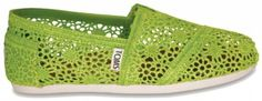 Toms Crochet Style Shoes Hit Store in June 2011 Toms Crochet, Crochet Shoes, Crochet Style, Green Toms, Kids Toms, Green Lace, Crochet Fashion, New Product, Shoes