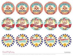 Download these FREE Circus Carnival Printables - Cupcake Toppers See more party ideas and share yours at CatchMyPartyy.com #catchmyparty #partyideas #circusparty #circus #freecircusprintables #carivalparty #freecarnivalprintables #circuscarnivaltoppers
