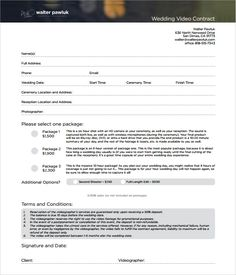 Sample Videography Contract Template  Photography