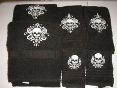 6pc Bath towel Set - Damask SKULL - Embroidered, more colors available