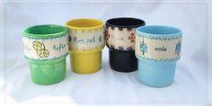 """Ręcznie malowane kubki: woda, kawa, kefir, kompot. ceramika ręcznie malowana. Hand painted, ceramic mugs: """"water"""",""""coffe"""", """"kefir"""", 'kompot"""". by Benusha -ceramika"""
