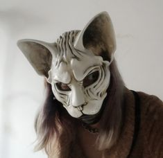 Handmade by Klatsk Animal Costumes, Cat Costumes, Halloween Costumes, Cat Masquerade Mask, The Mask Costume, Oriental Cat, Traditional Japanese Tattoos, Cool Masks, Cat Mask