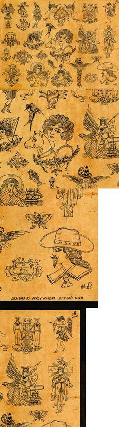 Tattoo Flash: Percy Waters Flash Poster Replica 18X24 Tattoo History Tattoo Memorabilia BUY IT NOW ONLY: $30.0