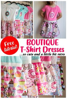 Surprise your little girl with a new dress. This cute handmade t-shirt dress has a bit retro look. Add your lovely designed leftover fabrics to your little girl's shirt to make it a dress. You'll have fun with this easy sewing tutorial. #dress #tshirtdress #retrodress #easysewing #freesewingtutorial Kids Clothes Patterns, Sewing Kids Clothes, Sewing For Kids, Free Sewing, Sewing Patterns, Clothing Patterns, Kids Clothing, Easy Sewing Projects, Sewing Projects For Beginners