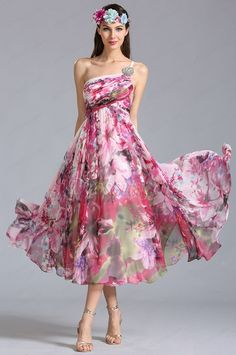One Shoulder Tea Length Printed Dress Party Dress --- The print and the floaty skirt are a dream! Trendy Dresses, Sexy Dresses, Summer Dresses, Formal Dresses, Homecoming Dresses, Bridesmaid Dresses, One Shoulder Cocktail Dress, Shoulder Dress, Tea Length Dresses