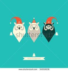 Owls. Merry christmas card. - stock vector