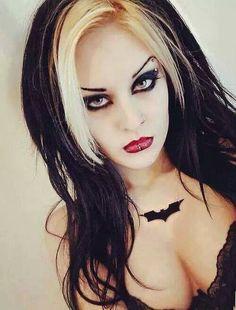 rich brown and white ombre hair Gothic Makeup, Sexy Makeup, Hair Makeup, Goth Beauty, Dark Beauty, Death Metal, Dark Fashion, Gothic Fashion, Cyberpunk