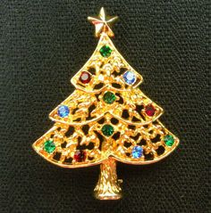 Eisenberg Ice Christmas Tree Brooch Vintage Colorful Rhinestone Signed Pin.