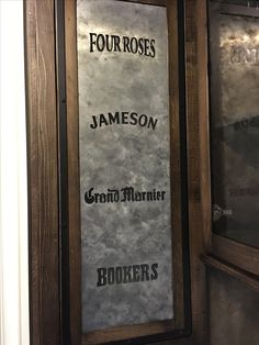 Aged zinc panel in a bar door. Beer and bourbon logos cut out with CNC & Two barn doors built with the Civil War era barn wood waiting to be ...