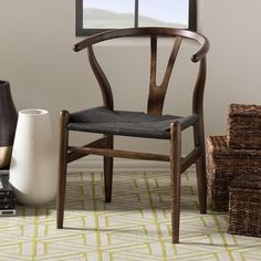 Shop for Baxton Studio Wishbone Modern Dark Brown Wood Dining Chair with Black Hemp Seat. Get free shipping at Overstock.com - Your Online Furniture Outlet Store! Get 5% in rewards with Club O!