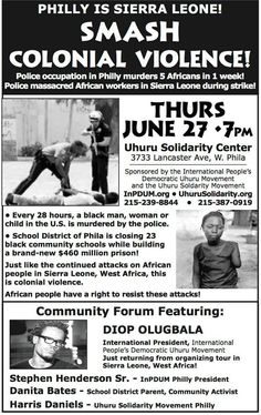 SMASH COLONIAL VIOLENCE! Police occupation in Philly murders 5 ...