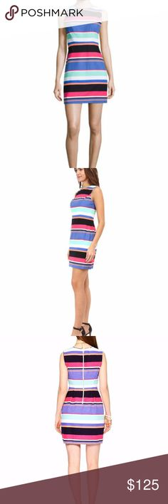 """Kate Spade Mariam Tropical Stripe Sheath Dress Kate Spade New York Mariam Tropical Striped Dress - Retail for $328 Length 34"""", Chest 17.5"""", Waist 14.5"""" Size 6 Crew neckline. Sleeveless. Sheath silhouette. Back zip. Cotton; polyester lining; dry clean. Imported. kate spade Dresses Mini"""