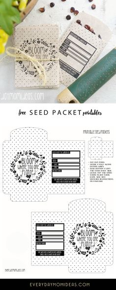 "FREE printable download: Garden Seed Packet ""Bloom Where you are planted. Collect your own seeds for next years garden with these adorable packets."