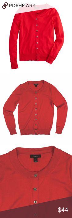 "JCREW Red Merino Wool Tippi Cardigan Sweater Excellent condition! This red merino wool tippis cardigan sweater from JCREW features button closures. Made of 100% merino wool. Measures: Bust: 34"", total length: 23"", sleeves: 24"" J. Crew Sweaters Cardigans"