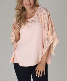 Love this Peach Sheer Inset Drape Top on #zulily! #zulilyfinds